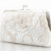 Bridal Champagne Lace Ivory Satin Clutch Silver Frame