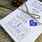 Wedding Invitation- Navy and Gray Whimsical Heart