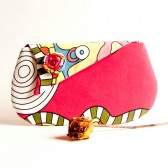 Bridesmaid Gift Idea, Foldover Wedding bridal Clutch, purse, bag, Hot pink yellow white flower, bridesmaid clutch by Lolos