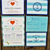 Nautical Wedding Invitation Suite: Striped Modern and Retro Anchor