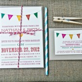 Wedding Invitation: Modern Multi Color Modern Bunting