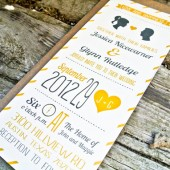 Modern Heart and Stripes Wedding Invitation: Yellow and Gray Silhouette