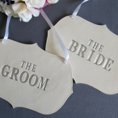 Silver 'The Bride' & 'The Groom' Wedding Sign Set