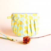 Bridesmaid Gift Idea Clutch, Wedding Bridal clutch wristlet, bag, cosmetic clutch, Blue Yellow circles Rosebud by Lolos