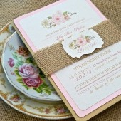 Burlap Pink Champagne Blush English Rose Wedding Invitation Set