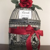 Gray Birdcage Wedding Card Holder With Red Rose