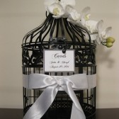 Black Bird Cage Wedding Card Holder With White Orchids