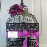 Black Birdcage Wedding Card Holder With Violet Rose