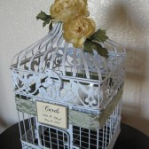 White Bird Cage Wedding Card Holder Vintage Style