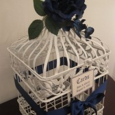 White Birdcage Wedding Card Holder With Navy Blue Rose and Hydrangeas