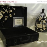 Leather Suitcase Wedding Card Holder With Wishes Cage