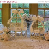 Shabby Chic Birdcage Wedding Card Holder Set With wishes Birdcage