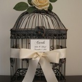 Wedding Card Holder Bird Cage with an Ivory Rose