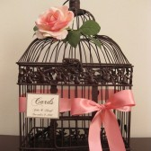 Brown Bird Cage Wedding Card Holder With Coral Rose
