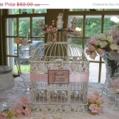 Shabby Chic Bird Cage Wedding Card Box Holder With Whimsical Berries
