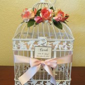 Shabby Chic Bird Cage Wedding Card Holder With Pink Roses