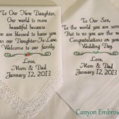 Wedding Gifts Embroidered Wedding Hankercheifs for Daughter In-Law and Son Daughter and Son In-Law by Canyon Embroidery on ETSY