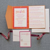 Bright Pocketfold Wedding Invitation - Mason Jars - Orange and Pink - Grace and Keith - Custom Colors