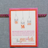 Mason Jar Wedding Save the Date Card - Bright Orange and Pink - Grace and Keith - Custom Colors