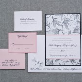 Black and Pink Wedding Invitation Suite - Custom Colors - Heidi and Clarence