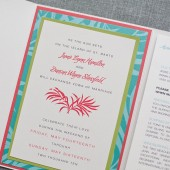 Destination Wedding Pocket Invitation - Tropical Red and Blue - Custom Colors - Jamie and Duncan