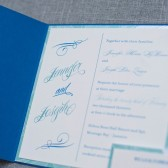 Beach Wedding Invitation - Pocket Invitation - Cobalt Blue - Jennifer and Joseph
