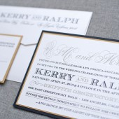 Gatsby Inspired Flat Wedding Invitation - Black and Gold Formal  - Kerry and Ralph