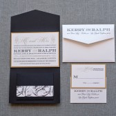 Gatsby Inspired Black and Gold Formal Pocket Wedding Invitation - Kerry and Ralph