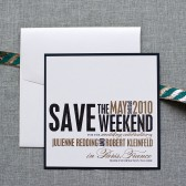 Black and Gold Square Wedding Save the Date  - Julienne and Robert