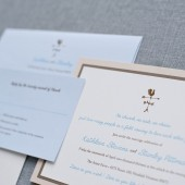 Country Wedding Invitation - Brown and Blue - Simple and Classic - Kathleen and Stanley