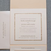 Classic Pocketfold Wedding Invitation Suite - Gold and Ivory - Keisha and Jerome