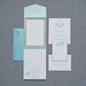 Aqua Blue Gold Paisley Pocket Wedding Invitation Suite - Kimberly and Wilson