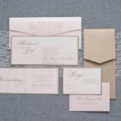 Champagne and Blush Pink Skinny Wedding Invitation - Mackenzie and Greg