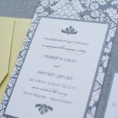 Brocade Print Wedding Invitation Suite - Black and Lime Green - Custom Colors - Madeline and Kenneth