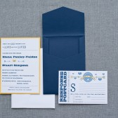 Cute Pocket Wedding Invitation - Navy and Yellow - Elena and Stuart