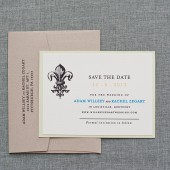 Fleur De Lis Wedding Save the Date - Ivory and Kraft Brown - Rachel and Adam