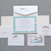 Destination Wedding Beach Wedding Invitation Suite - Blue and Taupe - Serena and Toby