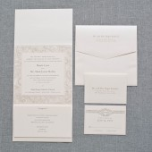 Ivory and Blush Pink Classic Pocketfold Wedding Invitation Suite  - Shayla and Mark