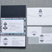 Large Brocade Pocketfold Wedding Invitation - High End Black and Blue - Custom Colors - Stacy and Cole
