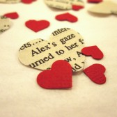 Book Page Heart Confetti & Red Mini Paper Hearts for Vintage Wedding