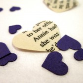 Book Page Heart Confetti & Purple Mini Paper Hearts for Vintage Wedding