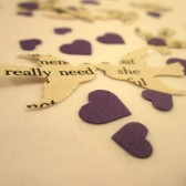 Book Page Bird Confetti & Purple Mini Heart Confetti // Vintage Wedding