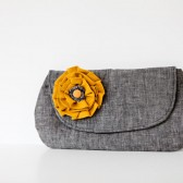 Emma Clutch in Gray & Mustard