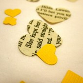 Book Page Heart Confetti & Yellow Mini Paper Hearts for Vintage Wedding