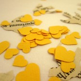 Book Page Bird Confetti & Yellow Mini Heart Confetti