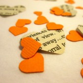 Book Page Heart Confetti & Orange Mini Paper Hearts for Vintage Wedding