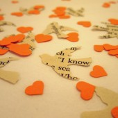 Book Page Bird Confetti & Orange Mini Heart Confetti