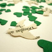 Book Page Bird Confetti & Green Mini Heart Confetti