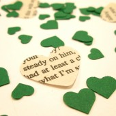 Book Page Heart Confetti & Green Mini Paper Hearts for Vintage Wedding