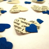 Book Page Heart Confetti & Blue Mini Paper Hearts for Vintage Wedding